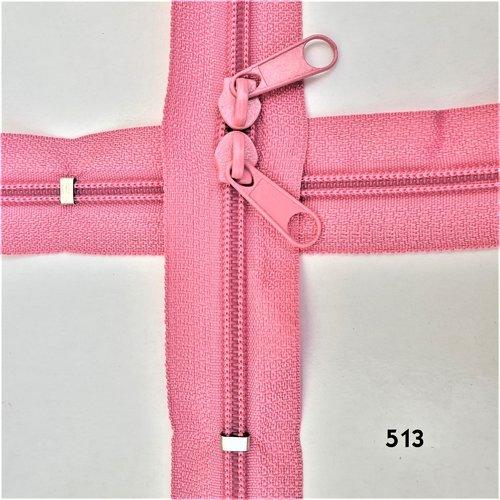 N6o 20-85cm rose , fermeture special sac à glissiere spirale 6 mm sur mesure , double curseurs dos à dos