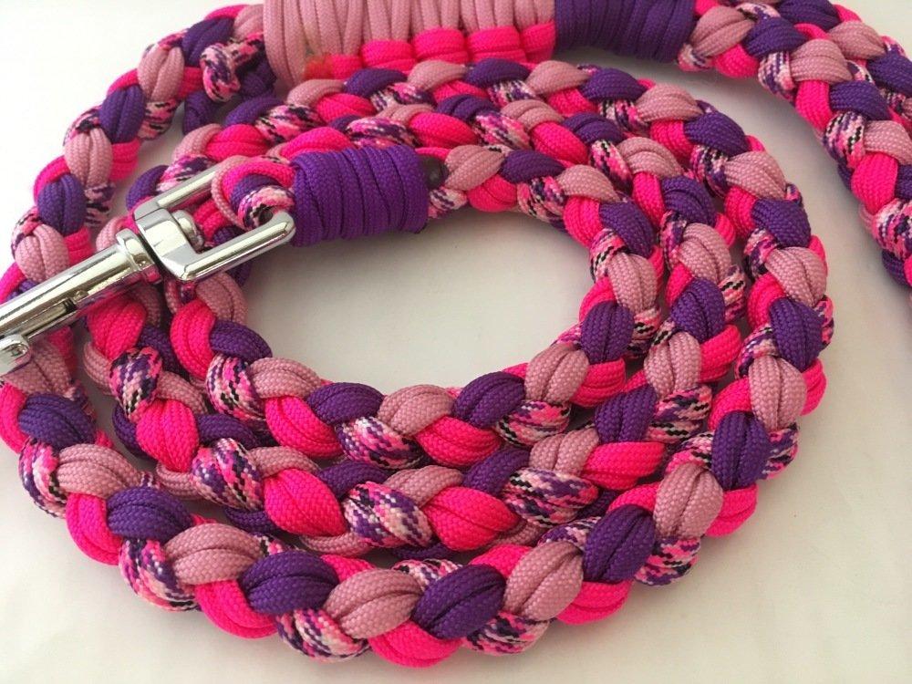 Laisse doublée rose et violet