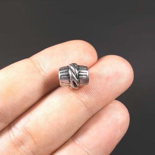 4 perles intercalaires tube 11mm x 10mm en métal argenté