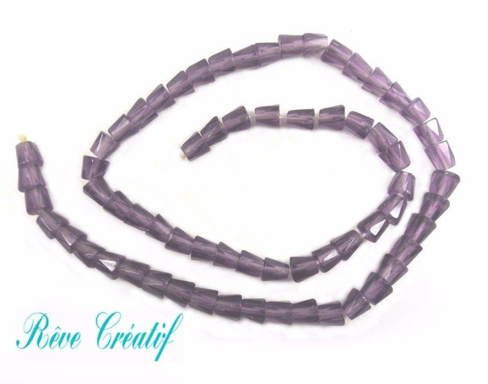65+ Perles à Facettes 7mm x 4mm en Verre Transparent Violet Mauve