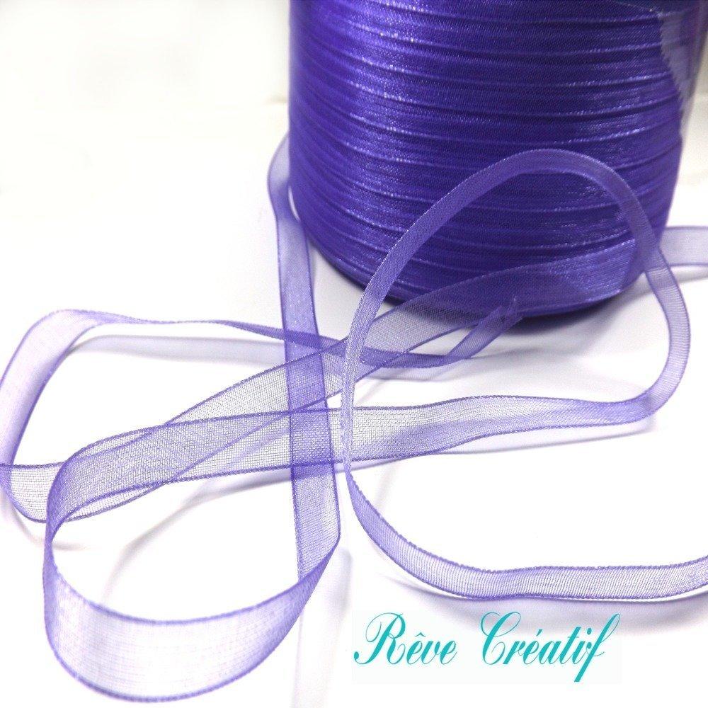 5 mètres 5m de Ruban Organza 6mm, couleur Violet foncé brillant