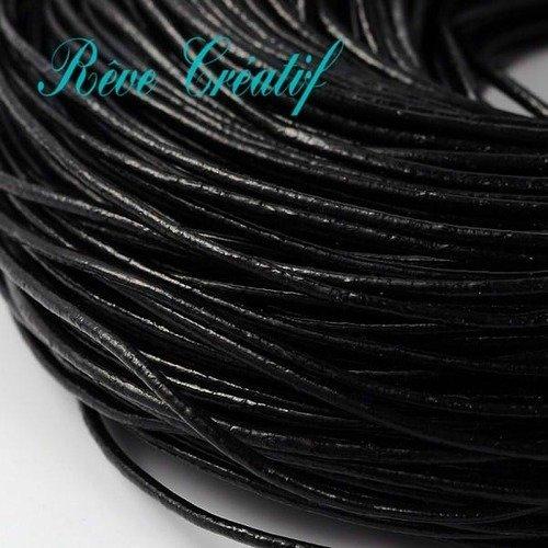 20 mètres cordon cuir lacet cuir noir 1,5 mm
