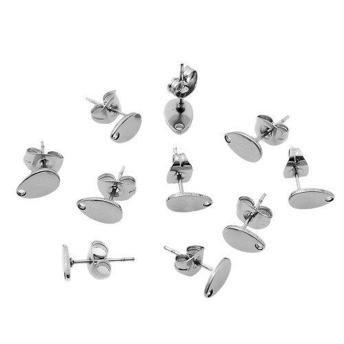 10 supports boucles d'oreilles puces forme goutte 8mm x 5mm en acier inoxydable