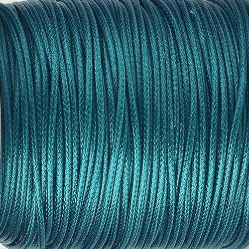 5 mètres 5m cordon ciré tressé 0.7mm en polyester couleur bleu paon