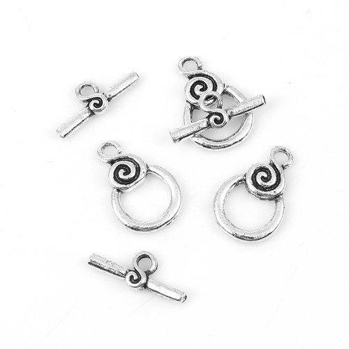 4 10 ou 20 Fermoirs Toggle Spirale 18mm x 12mm barre 17x7mm en métal argenté