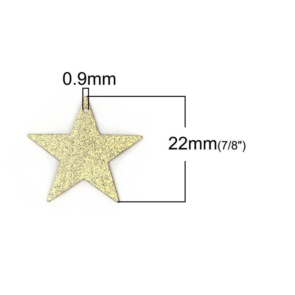6 Pendentifs Breloques étoile Stardust 23mm x 22mm en Métal doré