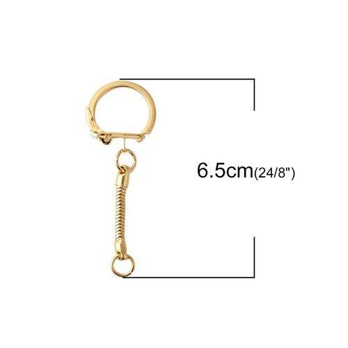 5 FERMOIRS Levier Porte clés Maille Serpent 6cm x 2cm en Métal Argenté Foncé