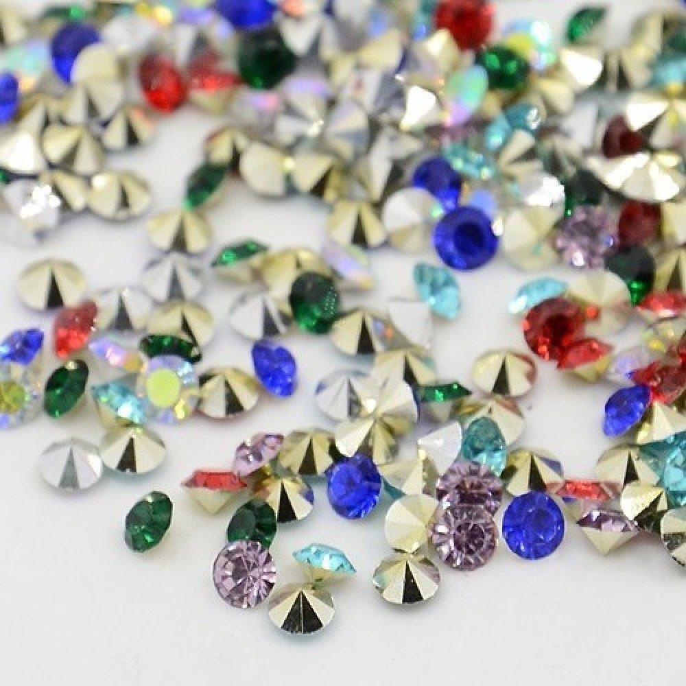 200 Cabochons Strass Diamant, Conique, perles strass, 2mm, Résine Couleur Mixte Grade AAA