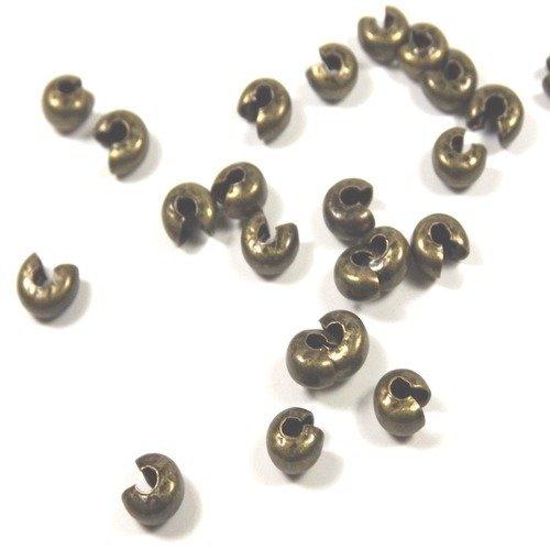 50 Caches noeud Perles à écraser 3mm Gris Foncé Noir Gunmetal Hématite