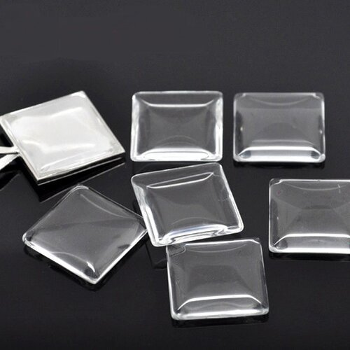 10 Cabochons ronds env 15mm en Verre Transparent Domes Loupe