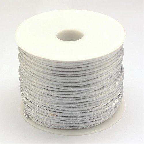 5 mètres 5m de fil en nylon satiné 1mm - queue de rat - couleur gris clair