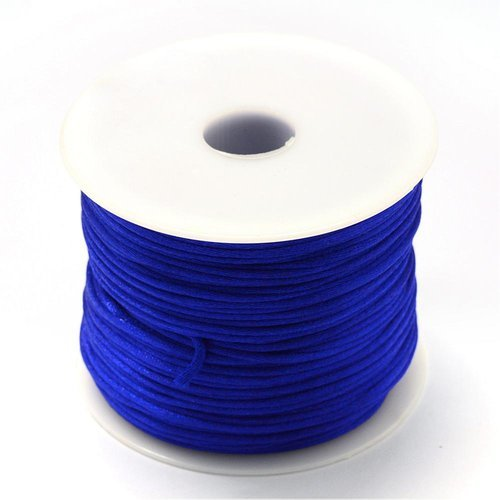 5 mètres 5m de fil en nylon satiné 1mm - queue de rat - couleur bleu foncé