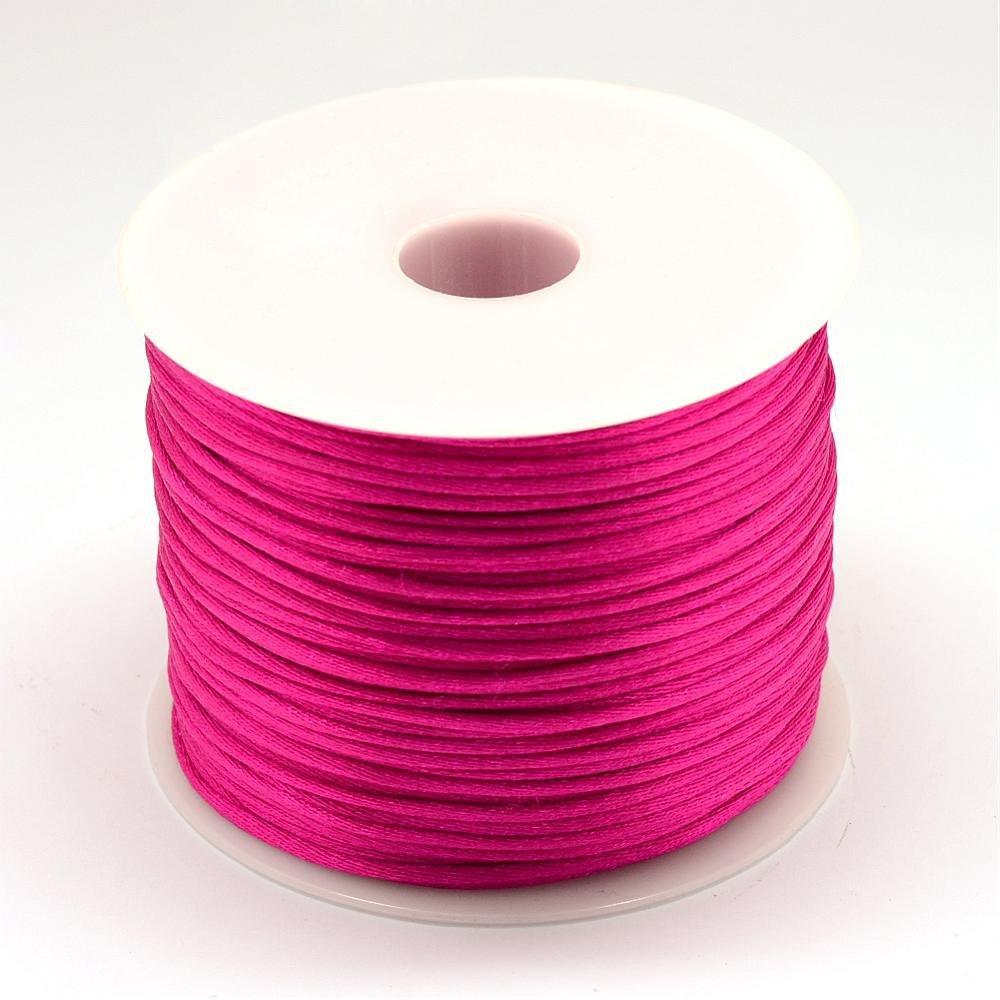 5 Mètres 5m de Fil en Nylon satiné 1mm - Queue de rat - couleur rose fuchsia