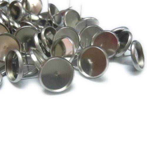 20 supports boucles d'oreilles puces à plateau 8mm en acier inoxydable ( + fermoirs plastique)