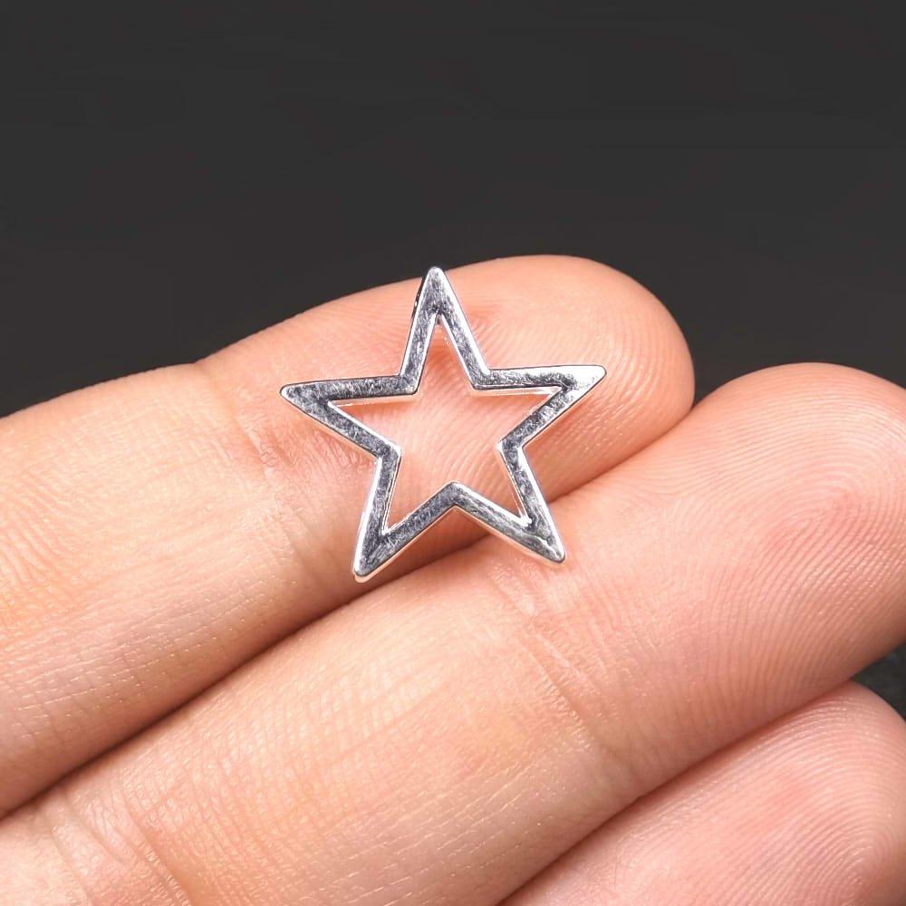 20 Connecteurs étoile 17mm x 16mm en métal argenté clair