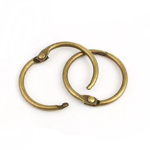 10 anneaux porte clefs 3cm 30mm en métal couleur bronze