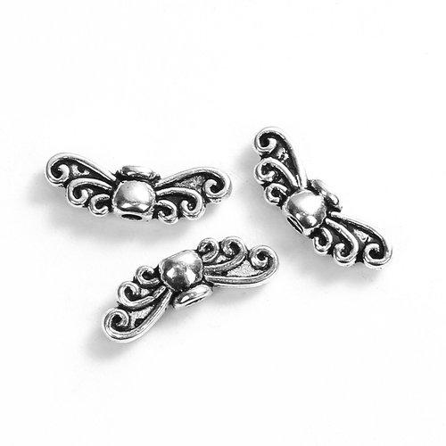 100 perles ailes intercalaires 14mm x 5mm en métal argenté