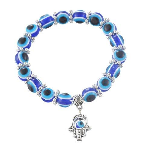 Bracelet khamsa symbole paume et oeil 18.5cm métal et résine