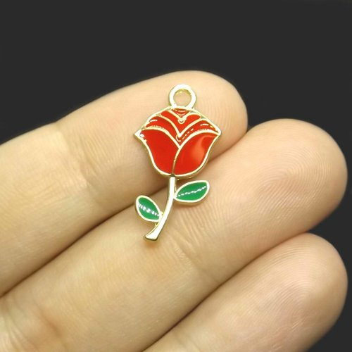 10 pendentifs breloques fleur 24mm x 13mm métal doré et émail rouge