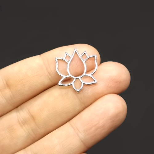 6 connecteurs fleur de lotus 21mm x 20mm métal argenté