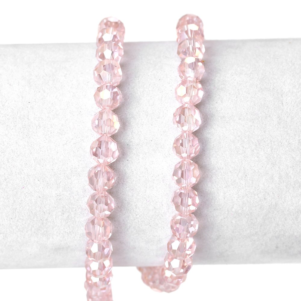 100 Perles 6mm rondes en verre à facettes Transparent Rose