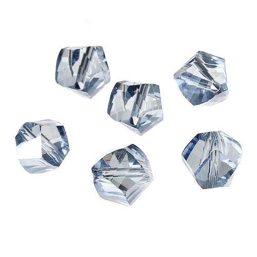 20 perles irrégulières 10mm x 9mm en verre à facettes bleu