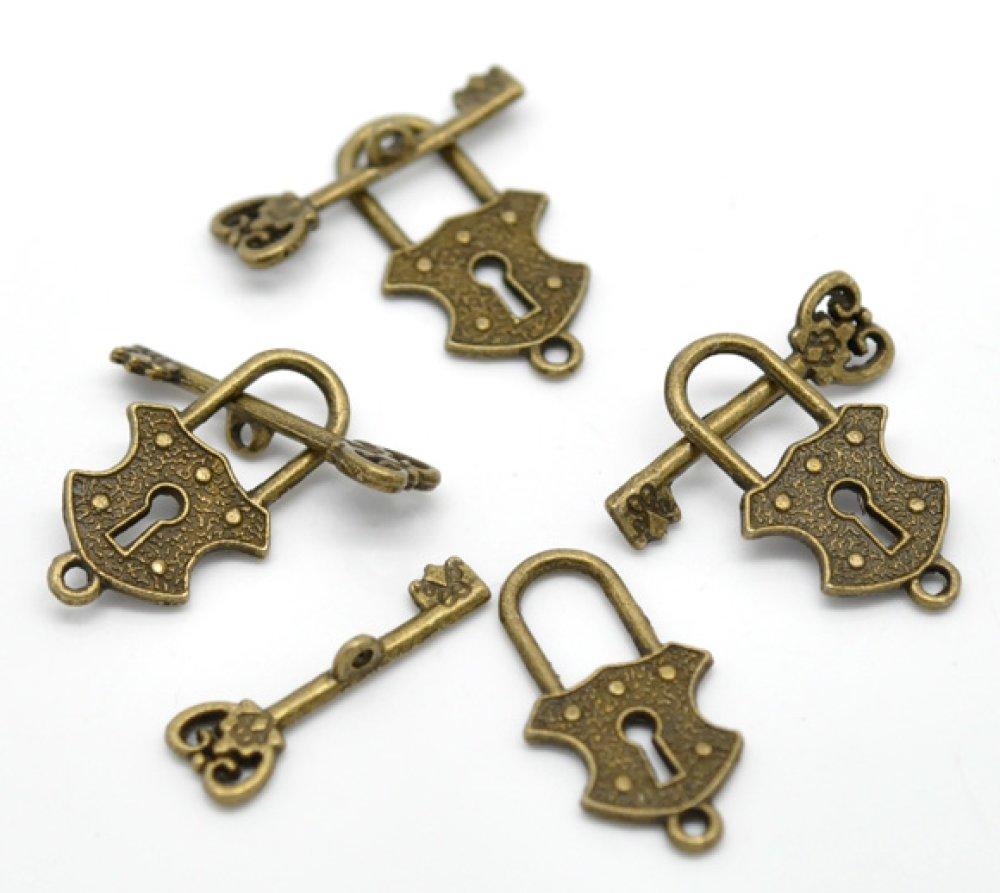 20 Fermoirs T toggle serrure et clé, cadenas et clef, métal couleur bronze