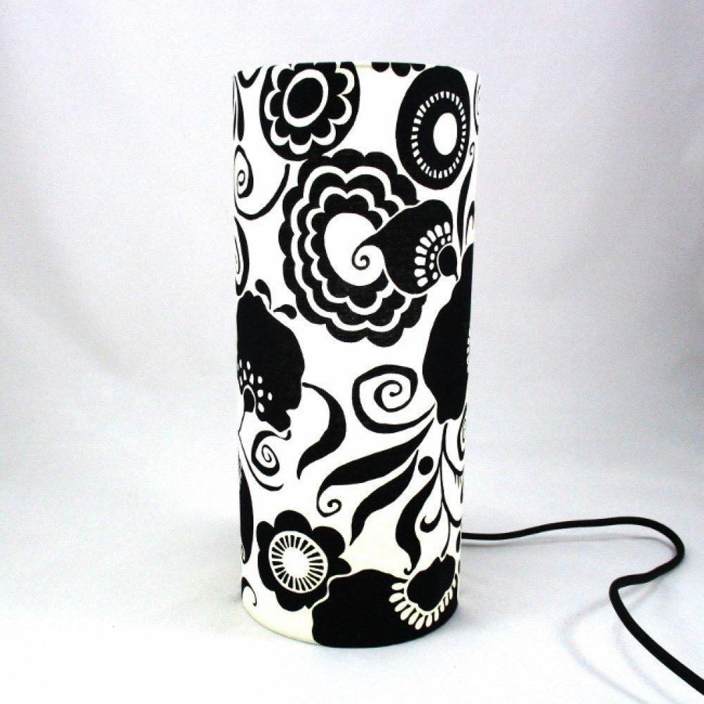 Lampe tube totem motif fleurs noires sur fond crème @rêve de lampes