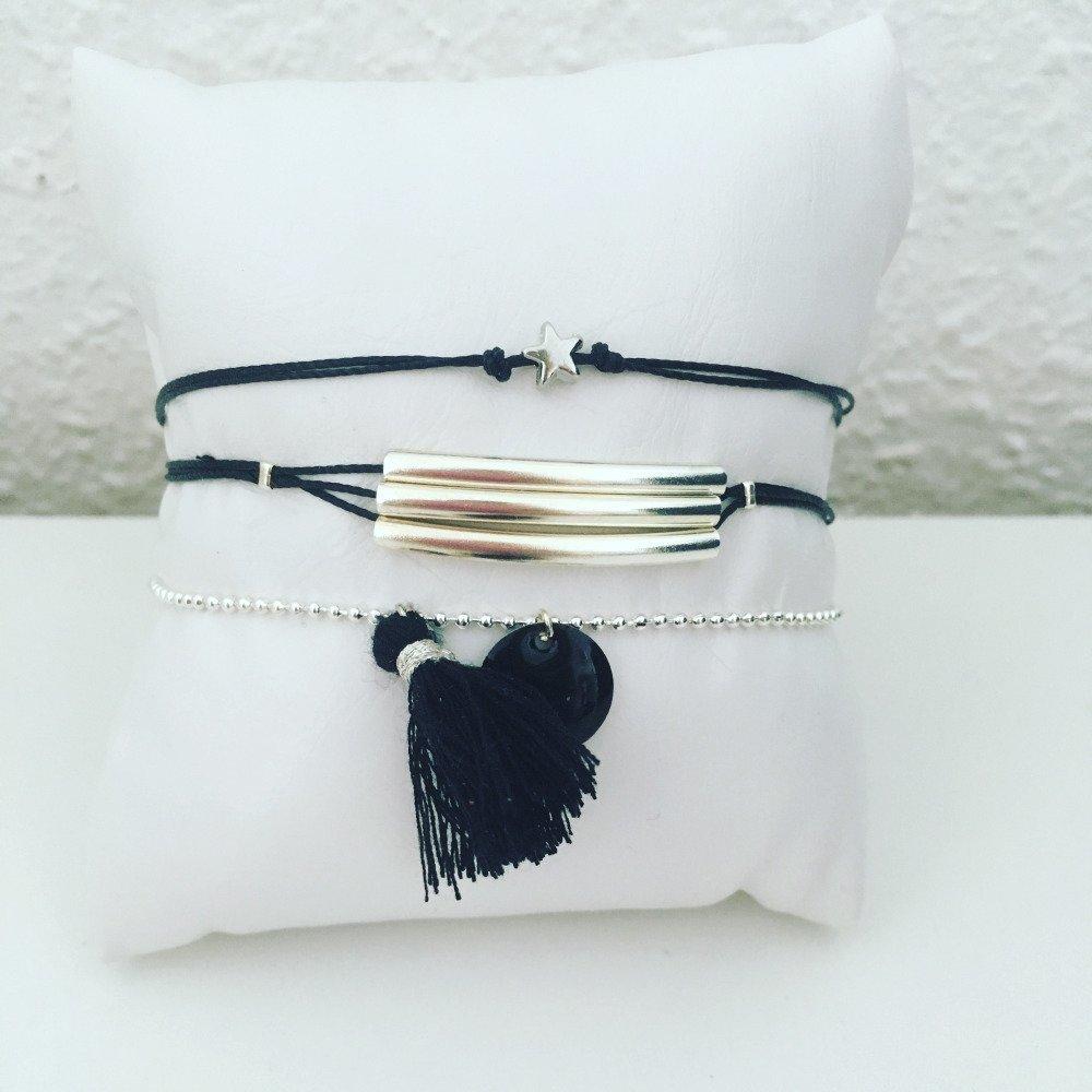 Lots de bracelets argenté et noir- etoile, tubes et pompon+sequin
