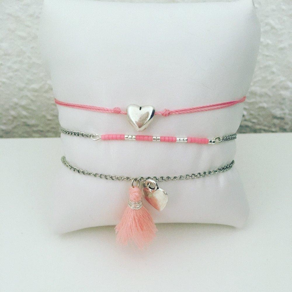 Lots de bracelets argenté et rose - coeur, pompon et miyuki