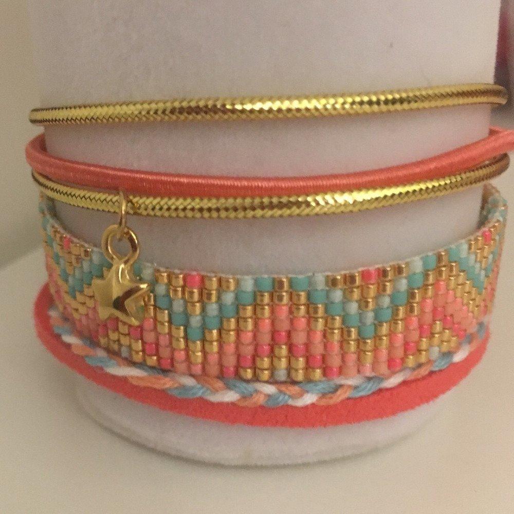 Bracelets multirang - tissage Miyuki
