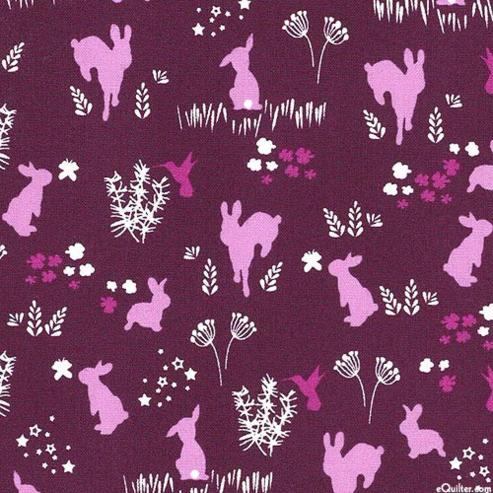 Tissu patchwork enfant violet avec des lapins  Michael Miller House of Huppington