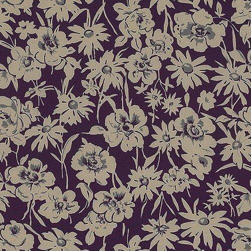Tissu patchwork mûre avec des fleurs, collection y and y par yuwa, made in japan