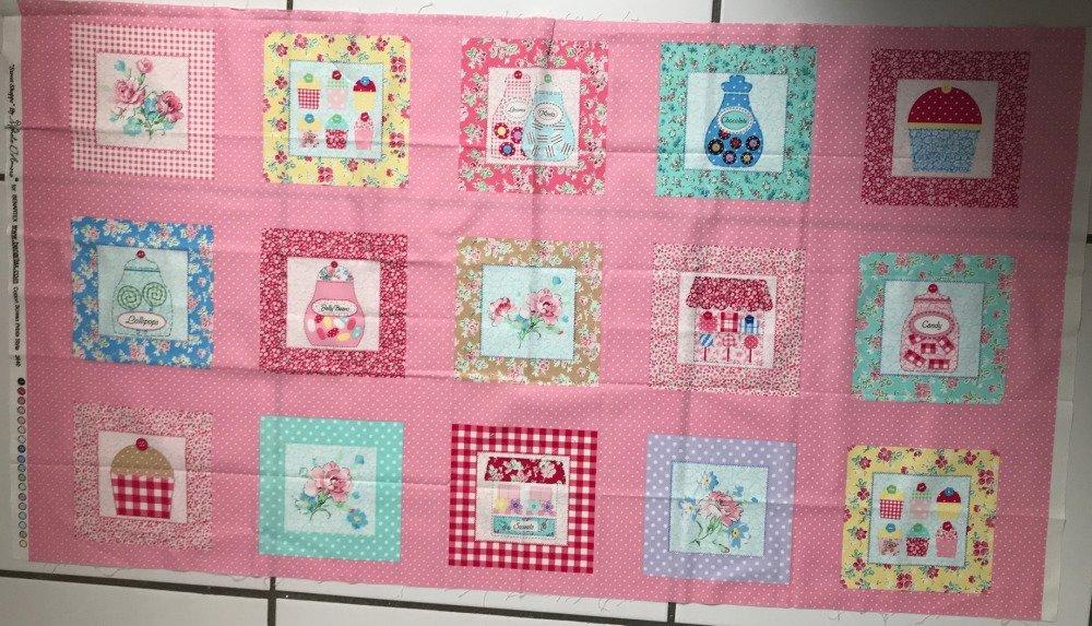 tissu enfant rose, panneau de tissu enfant SWEET SHOPPE Michèle D'AMORE