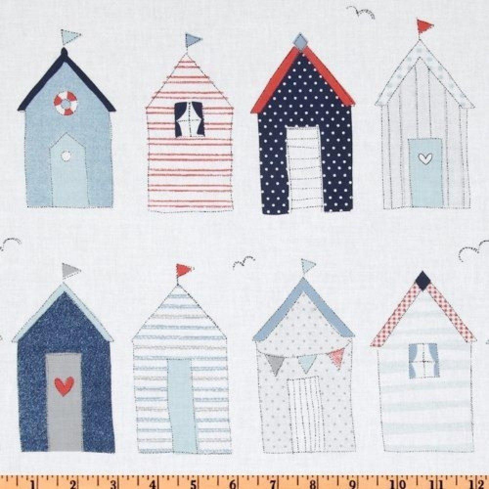 tissu patchwork blanc, avec cabines de plage,  MICHAEL MILLER
