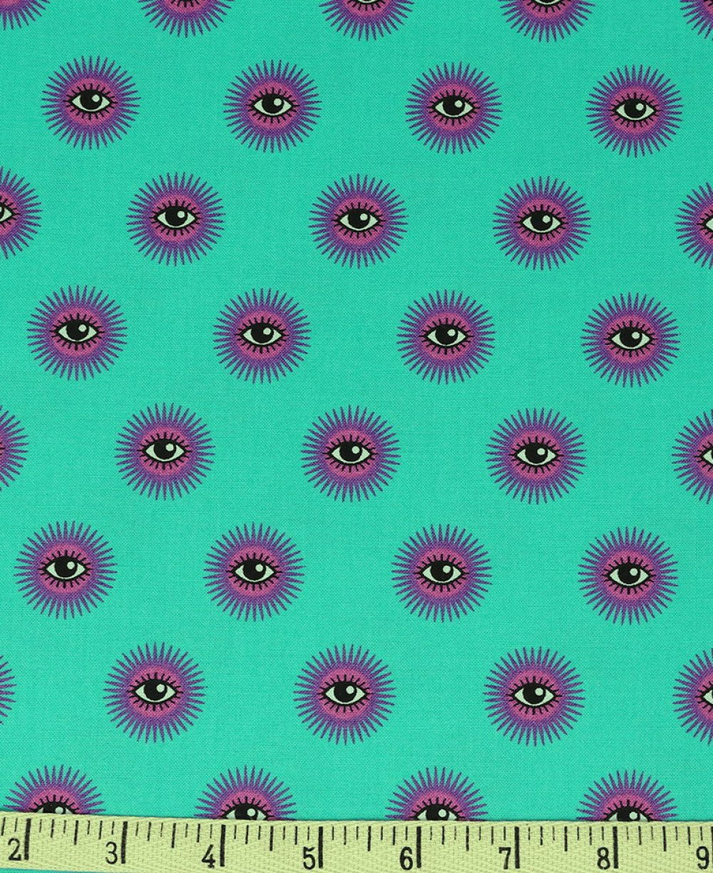Tissu patchwork turquoise, Tula Pink, Free Spirit, De le Luna