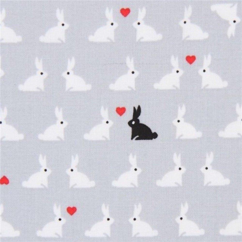 Tissu gris enfant avec des lapins, Tiny Happy Lucky, Robert KAUFMAN