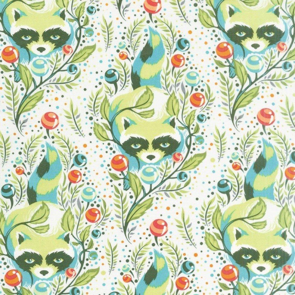 Tissu blanc, vert et turquoise, Tula Pink, Free Spirit, All Stars Raccoon Agave