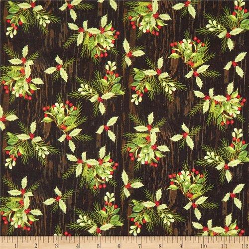 Tissu noël patchwork, noir et vert, fabric editions, feuilles de houx
