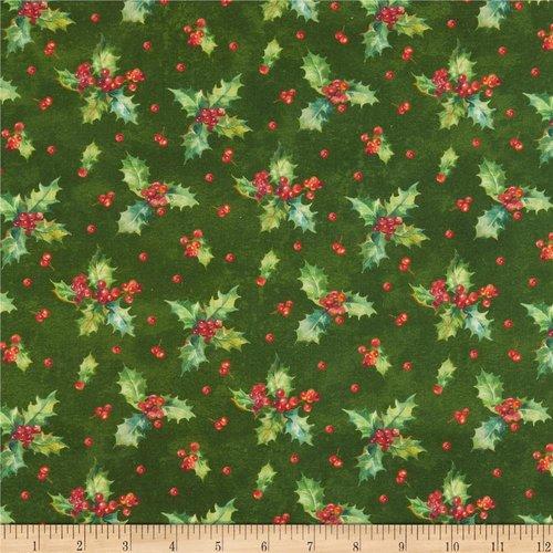Tissu noël vert, northcott fabrics, deck the halls holly toss green