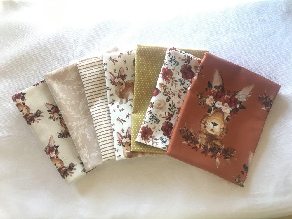 lot 7 coupons tissus enfant avec lapins, Harvest Bunny, terre cuite et beige, tissus exclusifs