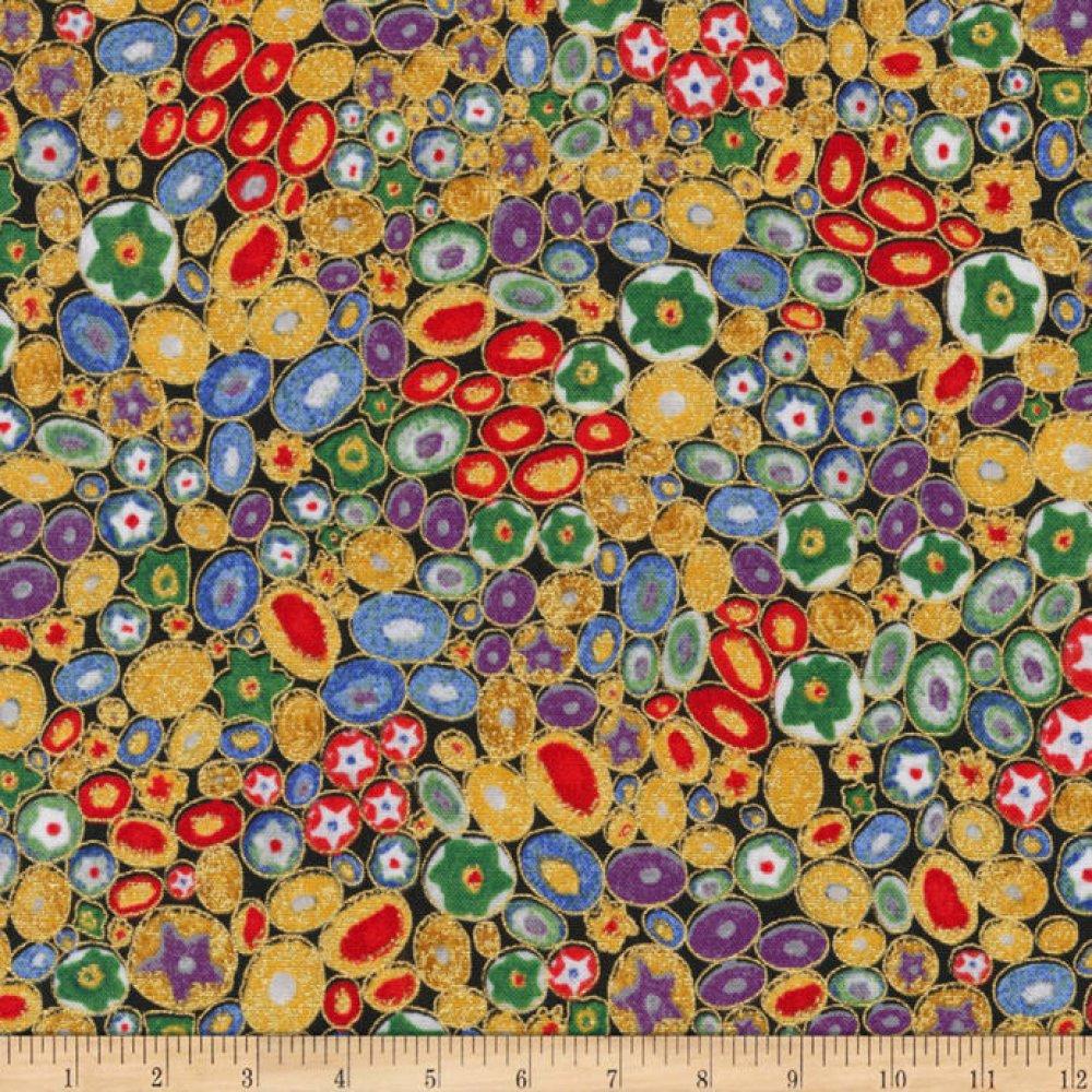 tissu Klimt ambre, rouge et doré, pois ovales, Robert Kaufman