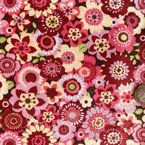 Tissu patchwork rose à fleurs, marcus fabrics, spintastic