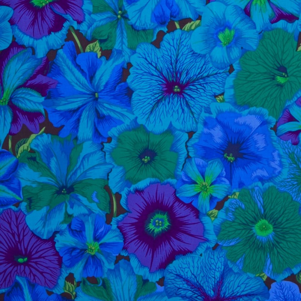 Tissu patchwork bleu et vert, Kaffe Fasset, Petunias PWPJ 050
