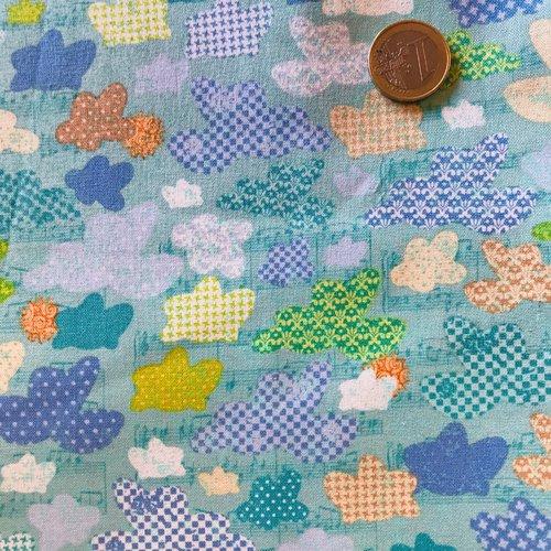 Tissu enfant bleu turquoise clair, nuages, blend fabrics,