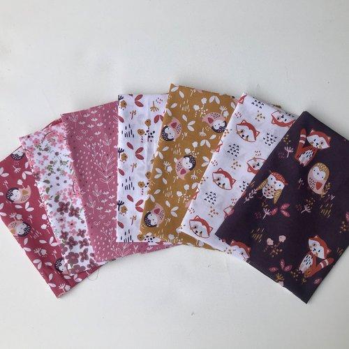 Lot 7 coupons tissus enfant prune, rose et blanc, chouette et renard, tissus oeko tex