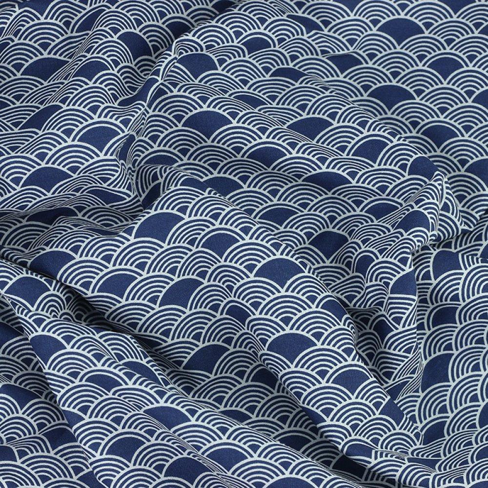 tissu blanc et marine, tissus oeko tex, vague japonaise
