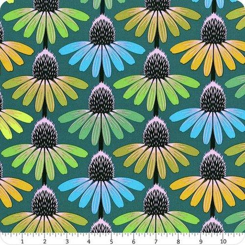 Tissu patchwork vert, jaune et turquoise, echinacea glow,  maria horner, free spiirit, pwah149