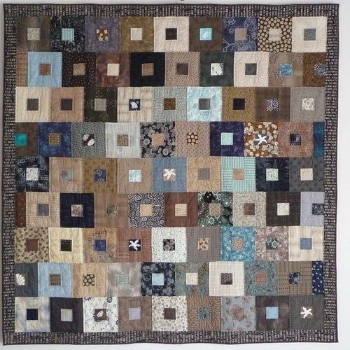 Lot de 65 bandes de tissus, jelly roll bleu, beige, blanc, tissus américains