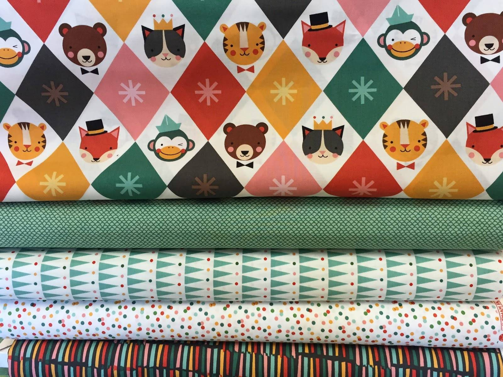 tissu enfant patchwork multicolore,  Party Animals, Whindam fabrics